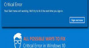 How to Fix Start Menu Critical Error in Windows 10?